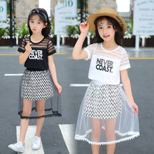 Girls Clothing Sets 2019 Summer Princess Girl T Shirt +Striped Dress 2pcs Set Children Tracksuit