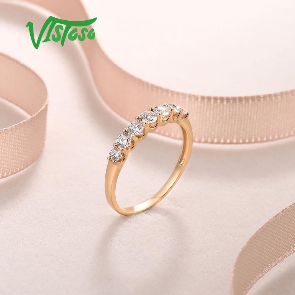 VISTOSO pur 14K 585 bague en or jaune pour les femmes véritable étincelant diamant bague promesse bagues de fiançailles anniversaire beaux bijoux - 6