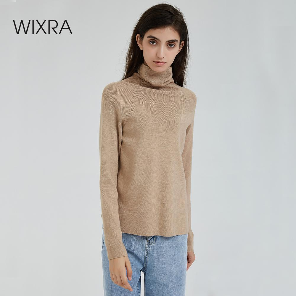 Wixra col roulé femmes Pull 2019 automne hiver chaud Femme Pull doux chandails tricoté Pull haut Pull Femme