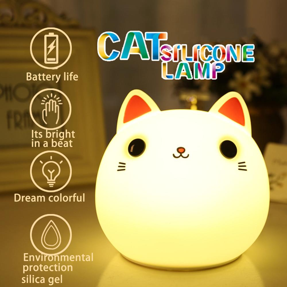 Switch Control Silicone Night Light Cat Bedside Lamps 7 Colors 2 Modes Led Table Night Lamp Soft Cartoon Baby Kids Nursery Lamp