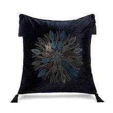 Pillow-Cover Tassles Flower-Shape Decorative Sofa Velvet Shiny Home Luxurious with T602
