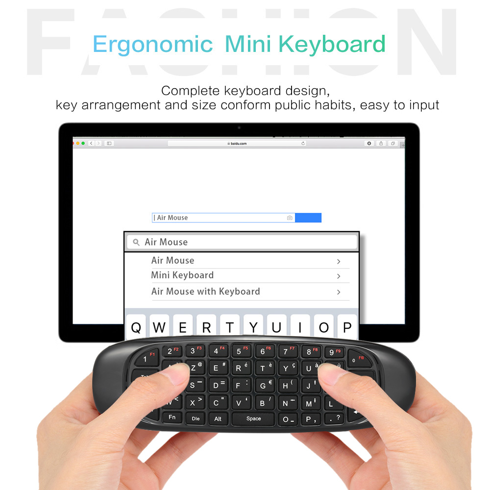 6 axes Gyroscope C120 2.4G Air Mouse Rechargeable Wireless Keyboard Remote Control for Android TV Box Computer English Version(2)