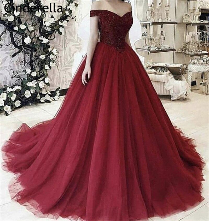 Cendrillon rouge foncé à épaules dénudées dos à lacets cristal perlé doux Tulle robes de soirée vestidos de fiesta de noche