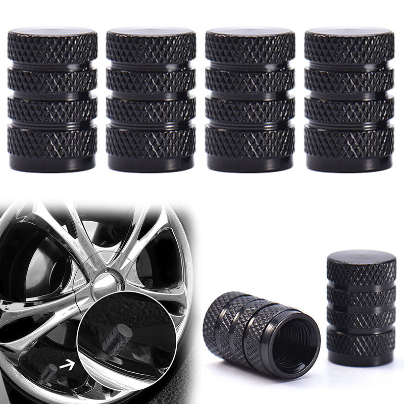 4Pcs Black Auto Car Tire Valve Caps Unique Design Car Truck Air Port Cover Car Tire Valve Stem Caps