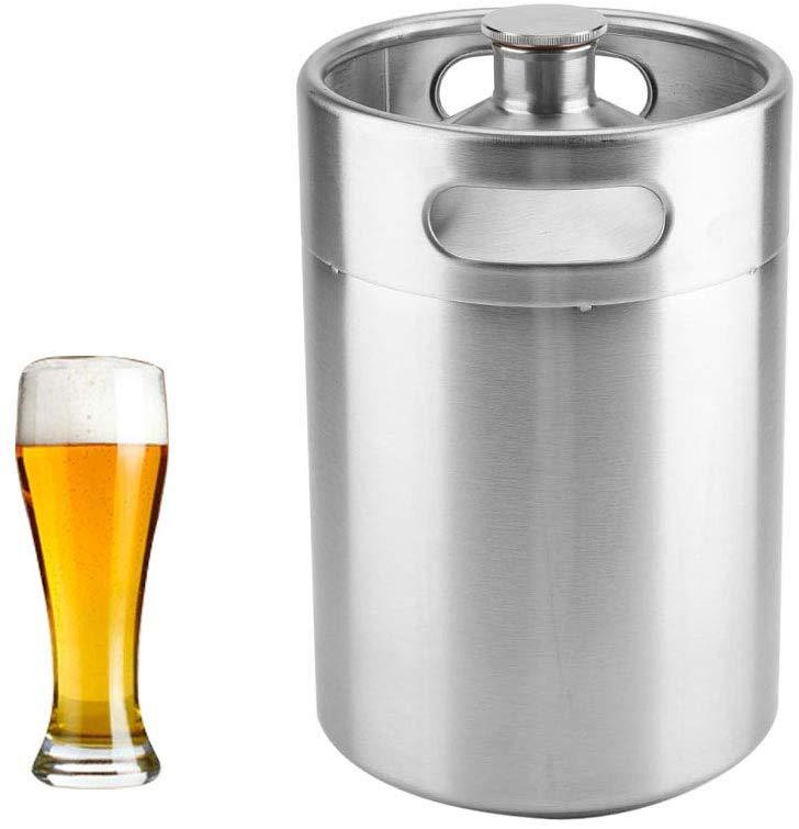 2L/3.6L/5L bira varil Mini fıçı tarzı Growler paslanmaz çelik bira malzemeleri tutar bira çift kolları ev kamp piknik