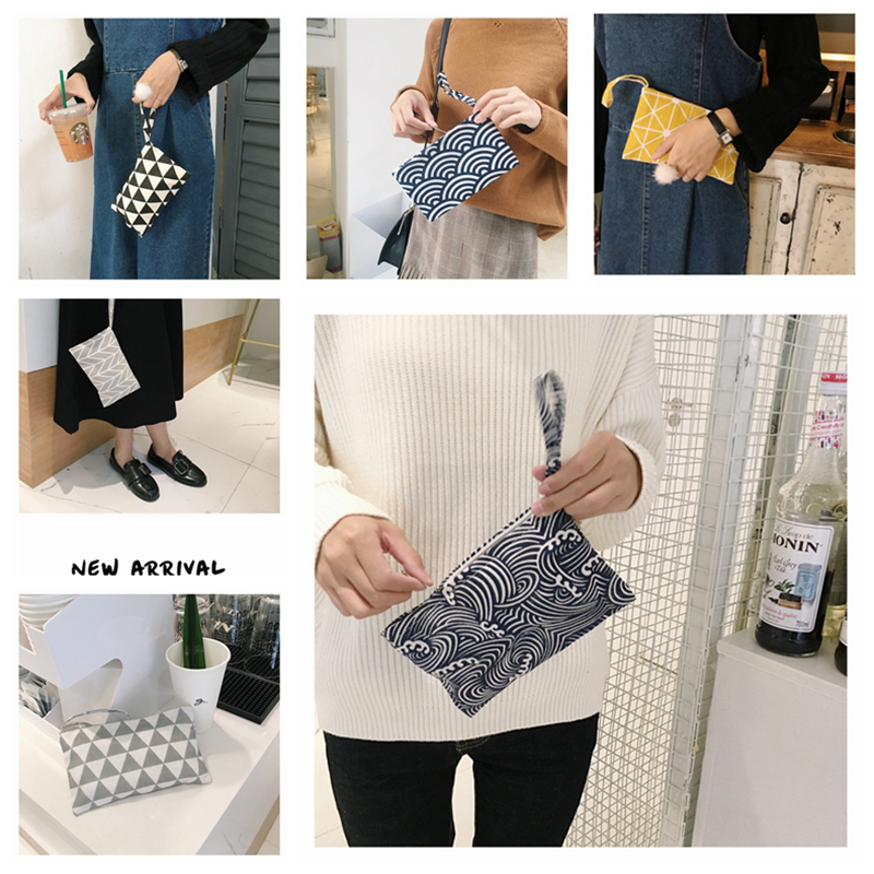 Boutique Japanese Women Cotton Fabric Cloth Wallet Hand Bag Creative Small Coin Purse Bag Cell Phone Key Bag