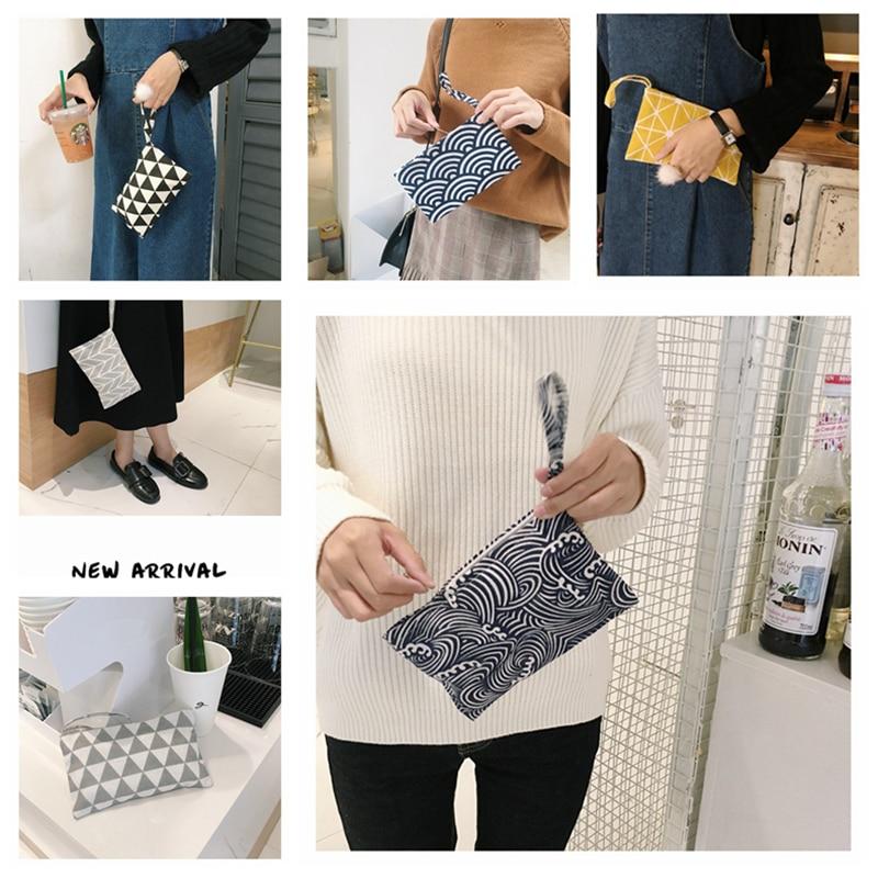 Boutique Japanese Women Cotton Fabric Cloth Wallet Hand Bag Creative Small Coin Purse Bag Cell Phone Key Bag