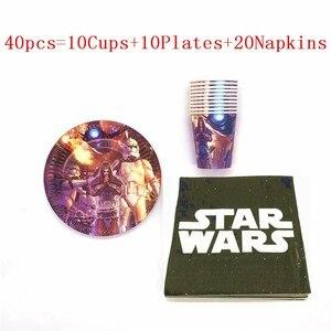 Arrangement à thème de Star Wars pour enfants | 30 pièces/60 pièces, décoration pour fête d'anniversaire gobelets assiettes serviettes jetables, fournitures de fête