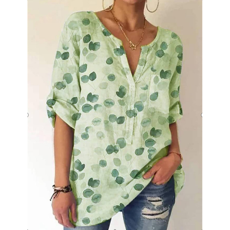 Street Style Fashion Lady Casual Tops Summer Loose Elegant Pullover Shirts for Women V-neck Printed Short-Sleeved Vintage Blouse Women Women's Blouses Women's Clothings