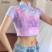 Nibber estate Retro stile Cinese grafici crop top delle donne di modo Elegante Casual ladies T-Shirt Street wear Harajuku tees mujer(China)