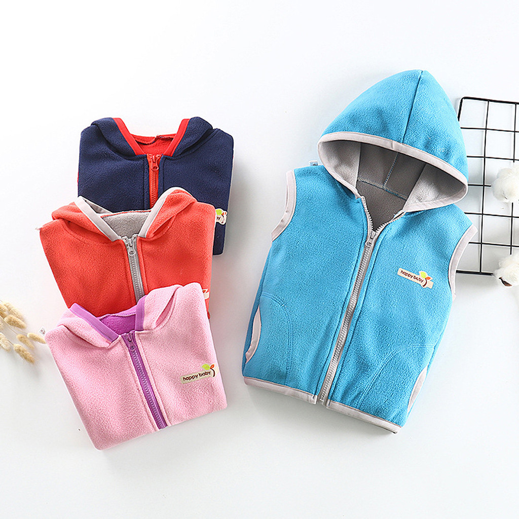 Baby Coat Child Boys Girls Sleeveless Letter Warm Hooded Clothes Waistcoat 2019 newest