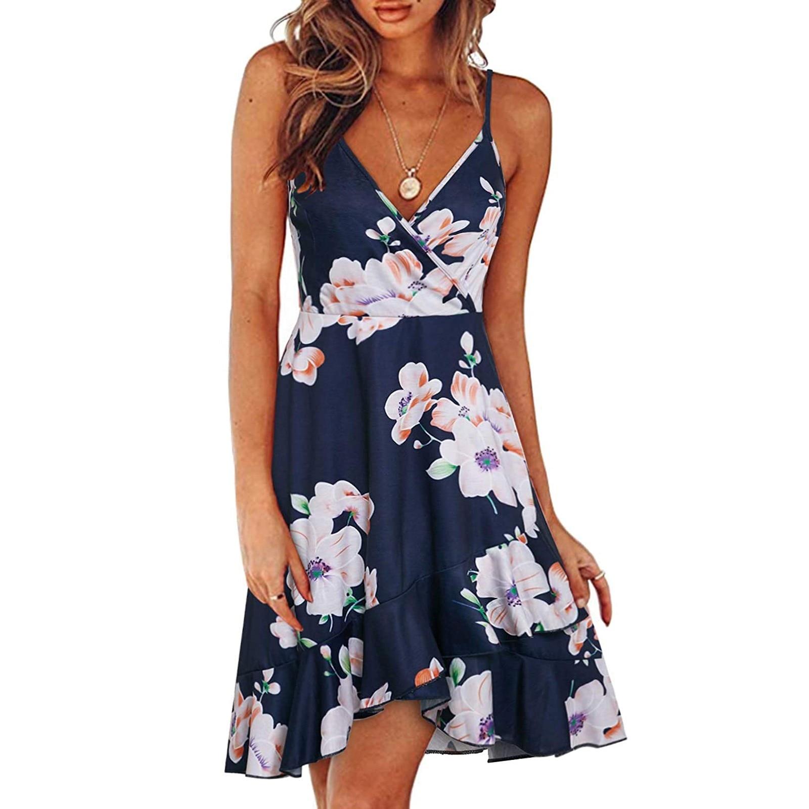 Eytino Women Sexy V Neck Long Sleeve Open Back Printed Mini Short Dresses 2