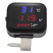 Koso Motorcycle Air Thermometer Gauge LED Voltmeter Voltage For Motorcycle 2 In 1 Function Voltmeter Display Indicator With USB