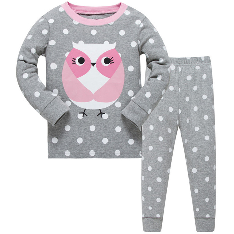 Animals girls clothing sets Long sleeve baby girls pajamas Owls hot selling tops + pants cotton sleepwear kids nightclothes 1