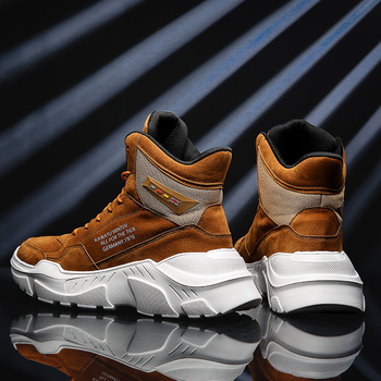 ZUFENG Winter Latest High Top Running Shoes Breathable Leather Sneakers for Men Lightweight Gym Running Shoes Tourism Walking