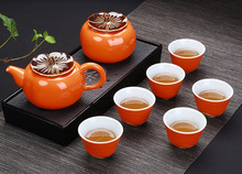 New Design Red persimmon shape Tea Set,Ceramic Tea Sets TeaCup,ChineseTravel Tea Set, 1 pot  6 cup,Kung Fu Tea Sets