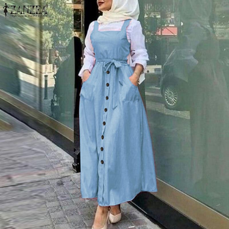 Women Overalls Dress ZANZEA Summer Sleeveless Solid Sundress Casual Bohemian Size Zipper Vestidos Robe Femme Muslim Dress Kaftan