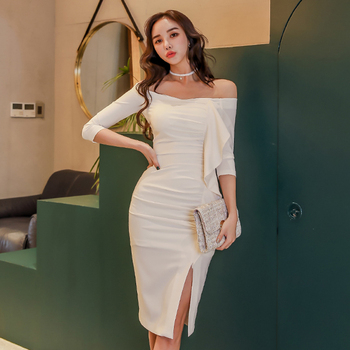Spring Summer Women Celebrity Party Dress Vestidos Sexy White  Ruffles Off Shoulder Bodycon Club Dresses sexy plus size sequins summer dress women fashion off shoulder bodycon party dress elegant night club dresses midi vestidos new