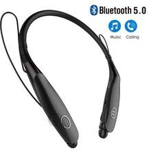 블루투스 V5.0 헤드셋 스포츠 실행 헤드셋 무선 스테레오 마그네틱 이어 버드 넥 밴드 이어폰 대형 파워 항공 Menory Metal