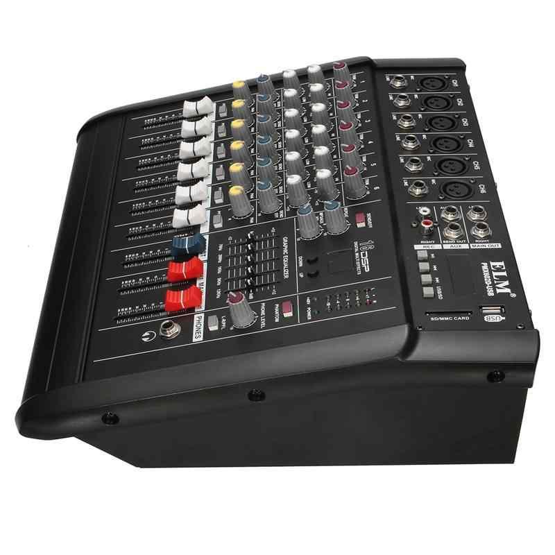 48V Phantom полномочия смеситель USB 6-канальный усилитель диджей караоке аудио микшер Поддержка USB, для карты памяти для выступления на сцене и Семья