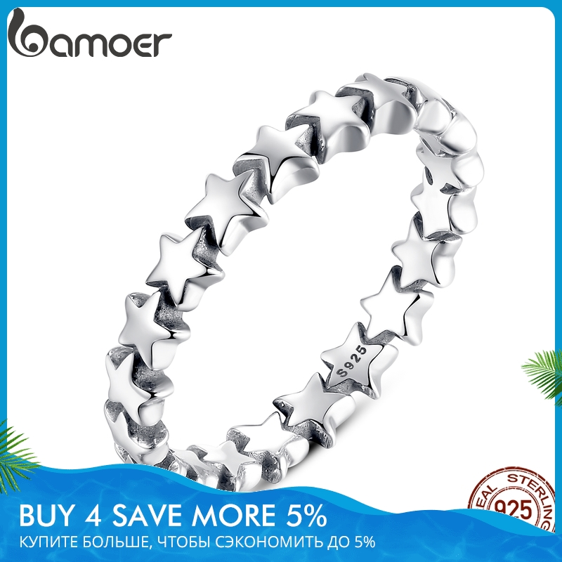 BAMOER 2020 HOT SALE Silver 925 Star Ring For Women Wedding 100% 925 Sterling Silver Stackable Finger Ring Jewelry PA7151(China)