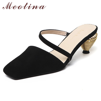 Meotina High Heels Women Pumps Natural Genuine Leather Strange Style High Heel Mules Shoes Real Leather Square Toe Shoes Lady 39