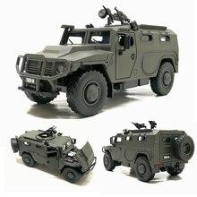 Alta simulação 1:32 liga deslizante russo veículo blindado à prova de explosão modelo militar som luz carro de controle crianças brinquedos