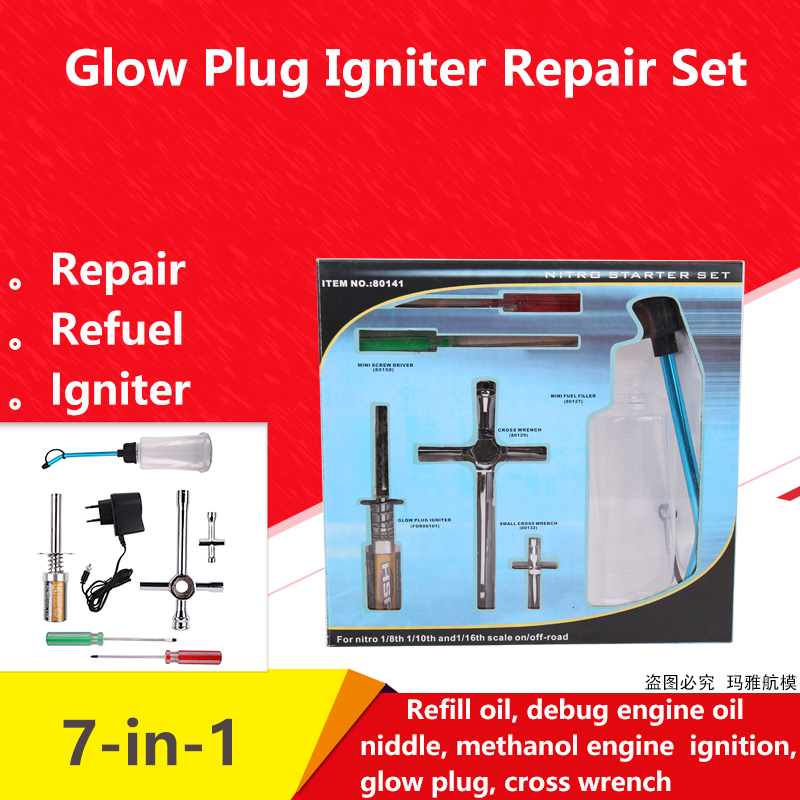 80141 Rechargeable Glow Plug starter Igniter AC Charger Ignition kit for Gas Nitro Engine Power 1/10 1/8 RC Car Engines