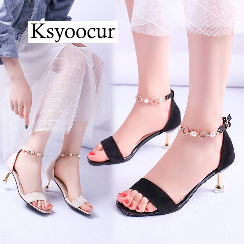 Ksyoocur 2020 New Ladies Women's Shoes Summer Sandals Sexy Peep Toe High Heels Sandals Party Wedding Shoes  Comfortable Slip X13