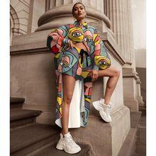 2 sztuk zestaw afrykańskich kobiet zestawy drukowanie kobiet przycisk długi Top i szorty garnitury zestawy na co dzień dwuczęściowe stroje odzież z afryki