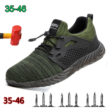 Breathable men's safety boots boots with steel toe cap men's casual work shoes indestructible puncture-proof work sneakers large size men casual comfort mesh steel toe cap work safety summer shoes puncture proof tooling security boots protect footwear