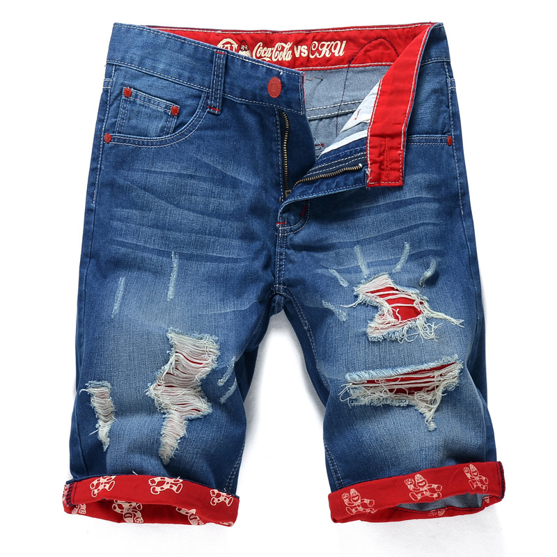 With Holes Jeans MEN'S Middle Pants Europe And America Fashion Revers Jeans Men's Straight Slim Shorts
