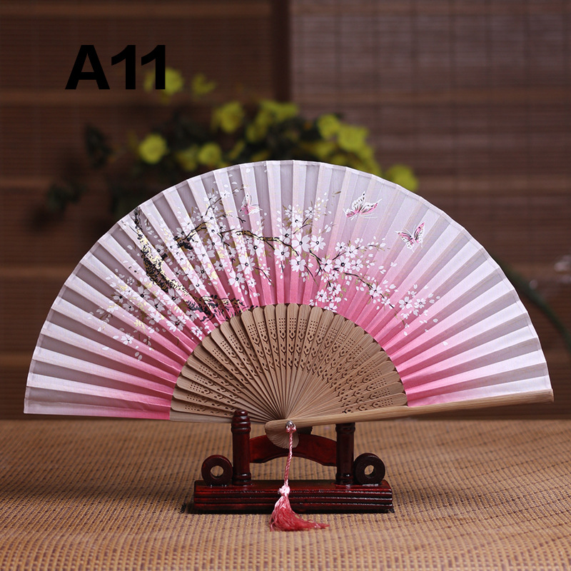 Silk Female Fan Chinese Japanese  Style Folding  Fan Home Decoration Ornaments