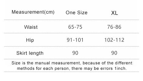 有弹力尺码表(裙长90)