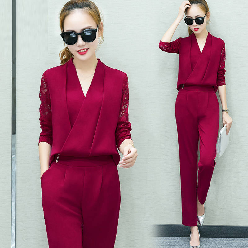 Fashion New 20189Women 2 Piece Set Women Suit Female Long Sleeve Lace Work Clothes Trousers Two-Piece Sets Foot Trousers