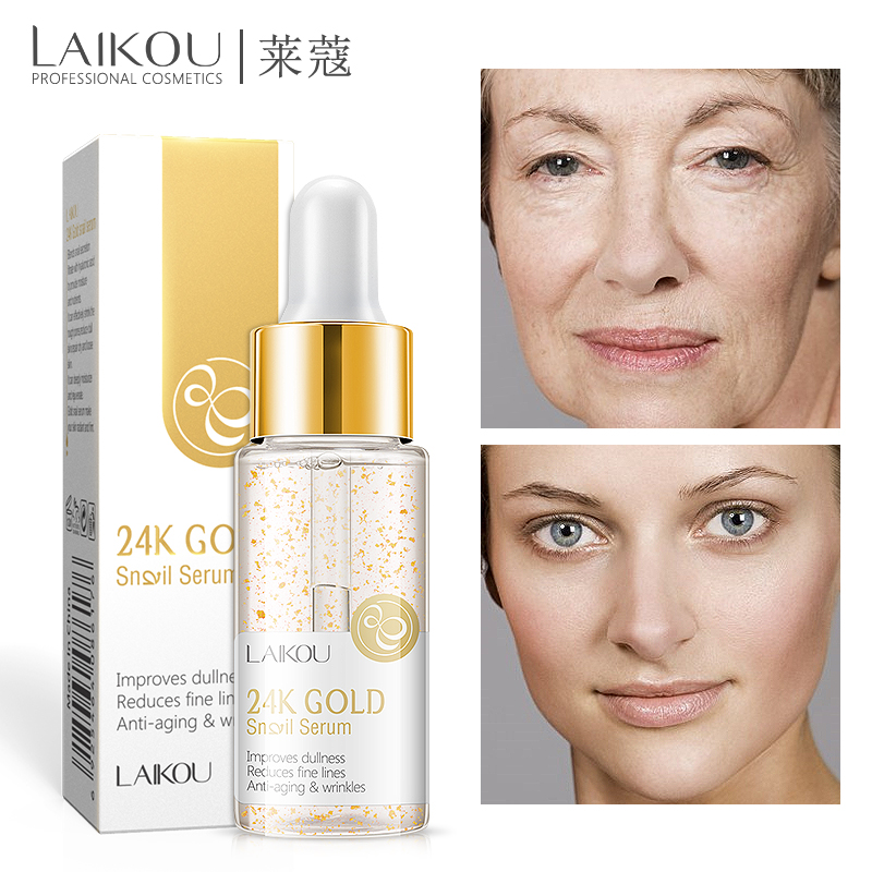 LAIKOU 24K Gold Snail Anti-Aging Face Serum Hyaluronic Acid Whitening Essence Nicotinamide Moisturizing Brighten Tighten Skin