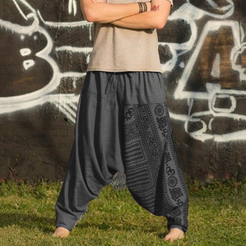 2019 Vintage Men Harem Pants Drop Crotch Hip Hop Pants Print Pencil Sweatpants Casual Loose Retro Costume Trousers Wide Leg Pant