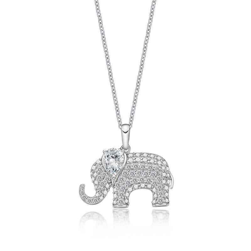 AINUOSHI 14K Solid Gold Elephant Pendant Pear Cut SONA Diamond Women Men Jewelry Cute Animal Charm Separate Little Pendant