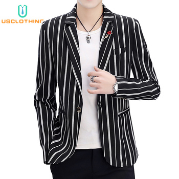 Men Blazer Jackets Fashion Stripe Print Slim Casual Blazers Suit Jacket Coat Business Casaco Masculino
