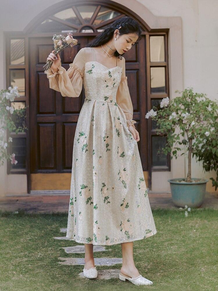 Новая мода Женская одежда квадратный воротник платье с принтом женское