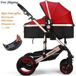 Wiselone Luxury Baby Stroller 2 in 1  High-Landscape Pram Portable Folding  baby Carriage Cheaper Baby Stroller