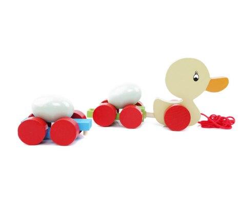Детские креативные деревянные машинки для тащивания яиц, милая утка, петух, тащиеся тележки, Ранние обучающие игрушки для малышей, тележка для животных LXX