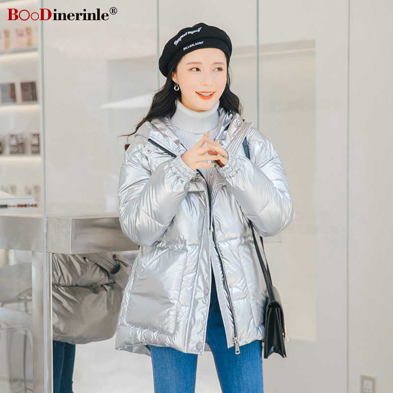 BOoDinerinle Parkas Woman 2019 Winter Jacket Woman Plus Size Bright Glossy Puffer Jacket Women Blue Thicken Down Cotton Coat