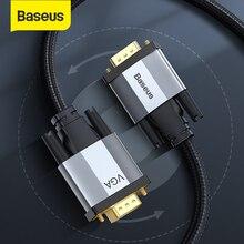 Baseus كابل تجهيز مرئي 1080P VGA ذكر إلى VGA ذكر كابلات لجهاز عرض تلفزيون كمبيوتر 15 دبوس كابل للوسائط المتعددة كابل تجهيز مرئي وصلة كابل