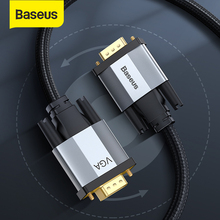 Baseus VGA Cable 1080P VGA Male to VGA Male Cables for Projector Television Computer 15 Pin Cable for Multimedia VGA Cable Cord