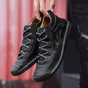 Image 4 - SKRENEDS flambant neuf confortable hommes chaussures décontractées hommes chaussures qualité en cuir chaussures plates pour homme mocassins chaussures grande taille 38 48