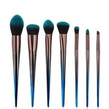 7pcs Diamond Makeup Brushes Set Blue Black Gradient Handle Eyeshadow Lip Powder Face Pinceis Tools Cosmetic Kabuki Brush Kits