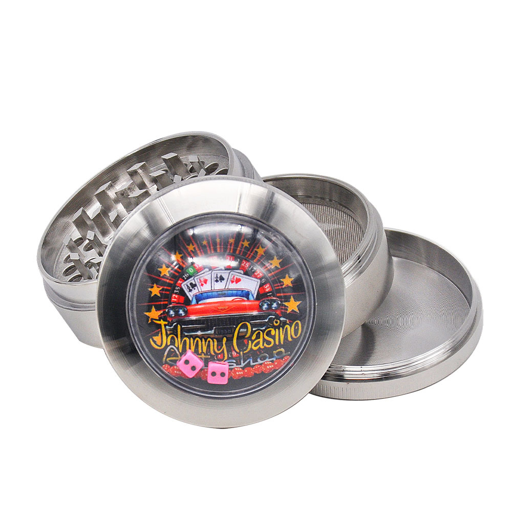 Zinc Alloy Smoking Herb Grinders With Dice Game Window 63MM 4 Piece Metal Tobacco Grinder Pollen Spice Crucher 6