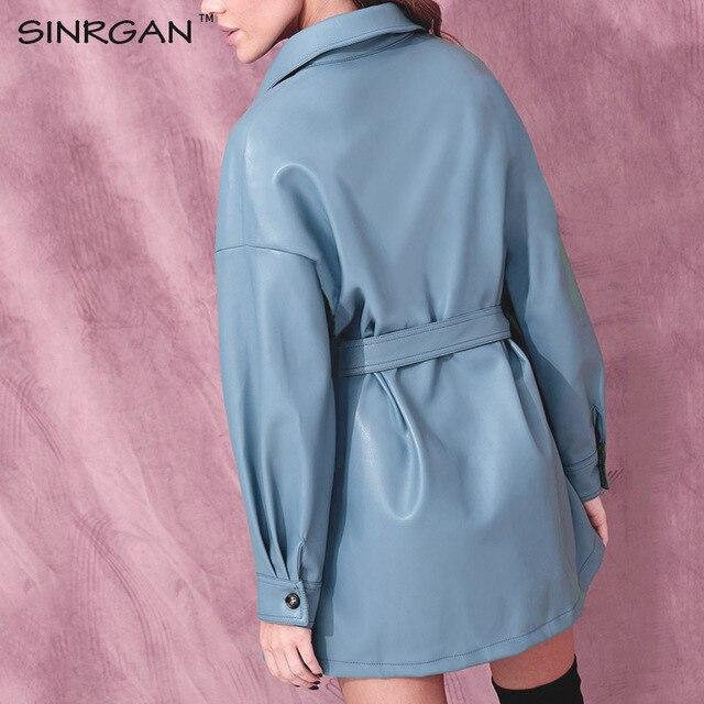 SINRGAN Blue Leather Short Dress With Belt Oversized Streetwear Jacket 1