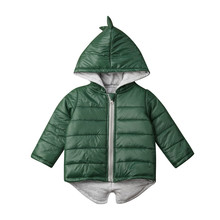 1-piece Set Baby Boy Dinosaur Coat Girl Clothes Solid Clolor Hooded Cotton Jacket Clothing